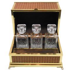 Mid-Century Italian Brass Tantalus Liquor Cabinet