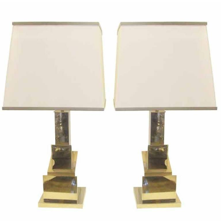 Romeo Rega Pair of Skyscraper Table Lamps 'Signed' For Sale