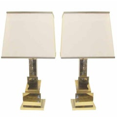 Romeo Rega Pair of Skyscraper Table Lamps 'Signed' w/ Original Shades