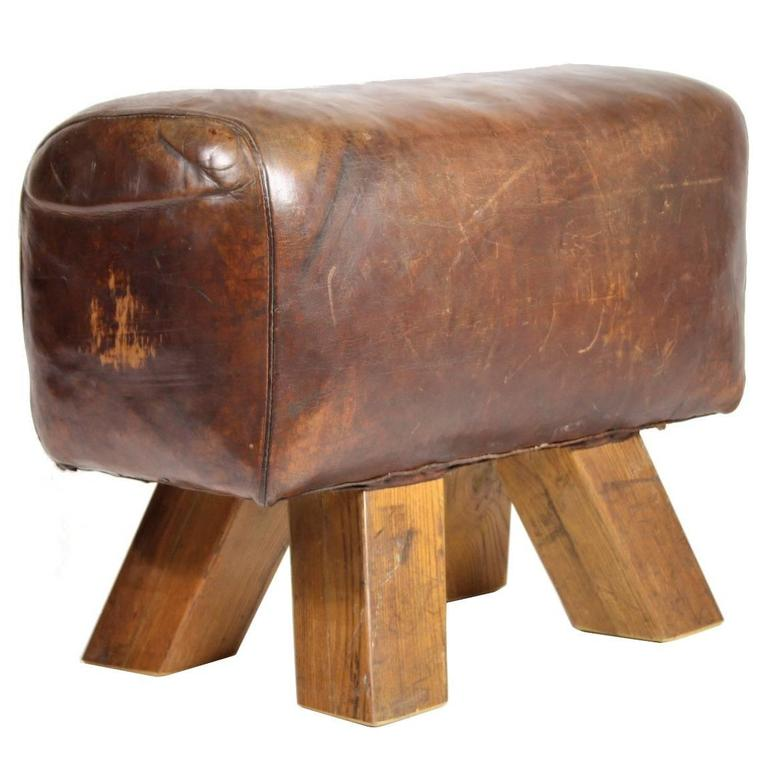 1940s Leather Gym Stool At 1stdibs