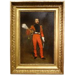 Portrait of an Officer, Napoleon First Empire, Oil on Panel Signed Jules Badin