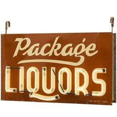 Large Package Liquors Neon Sign with Porcelain Faceplates, circa 1940s