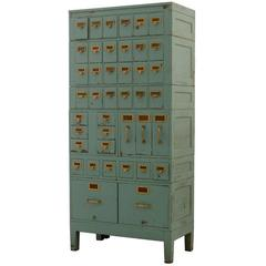 Large Standing Card Catalog with Blue Painted Finish, circa 1935