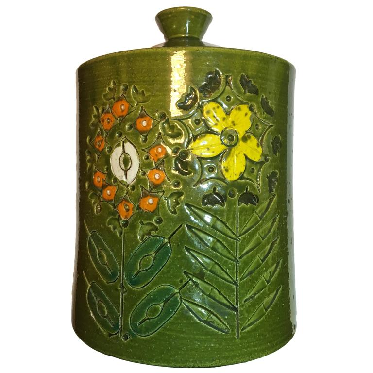 Italian Ceramic Jar With Lid By Aldo Londi For Bitossi For
