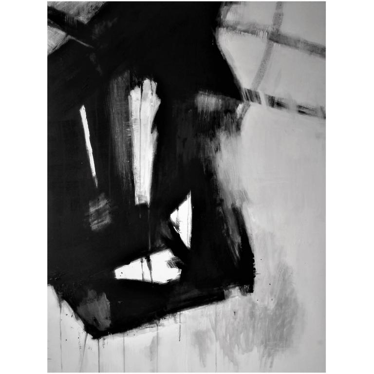 Original Black and White Abstract Painting by Brian Potter, NYC, 2016