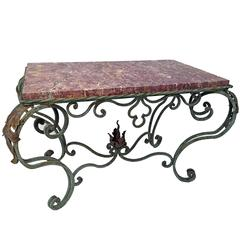 Green Painted Wrought Iron Table with Marble Top