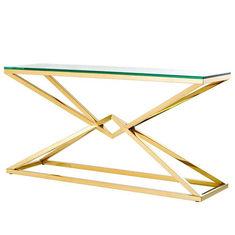 Equis Console Table in Gold Finish with Clear Glass Top