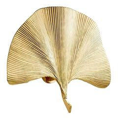 Ginko Biloba Wall Lamp in Polished Brass
