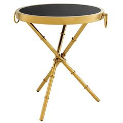 Bamboo Side Table in Gold Finish with Black Glass