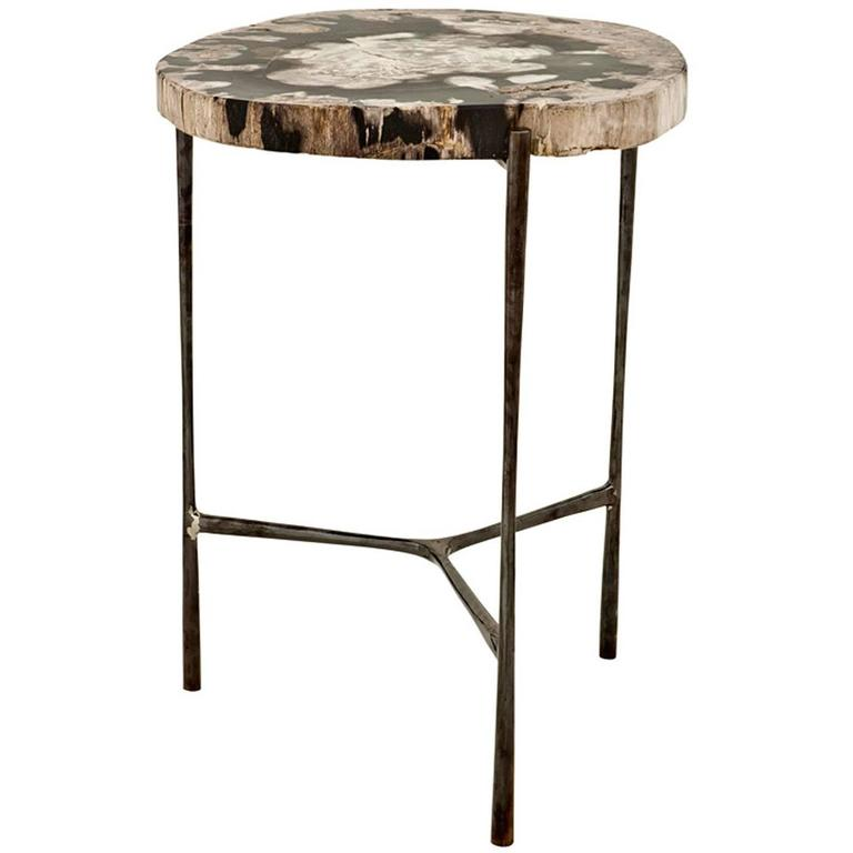 Times Side Table In Petrified Wood On Black Nickel Base For Sale