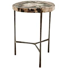 Times Side Table in Petrified Wood on Black Nickel Base