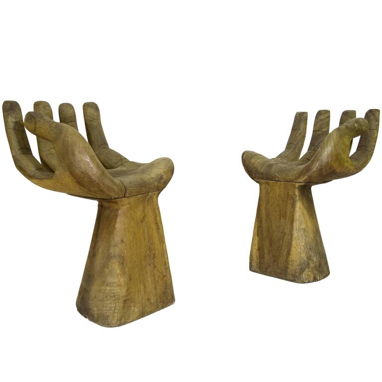 "Pair of Pedro Friedeberg Style Wooden ""Hand"" Stools, circa 1970, Spain 1"