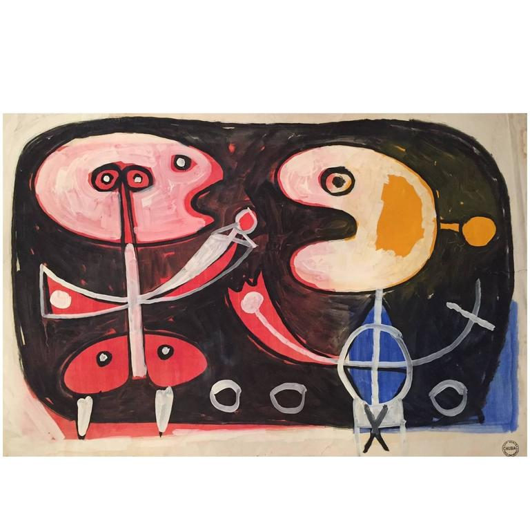 Albert Chubac, Gouache and Oil, Signed, circa 1960, France For Sale