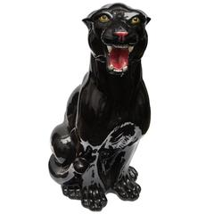Rare Big Vintage Ceramic Black Panther, Italy, 1960s