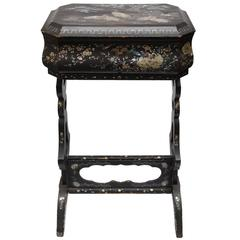 Late 19th Century Chinoiserie Laquered Mother of Pearl Standing Box