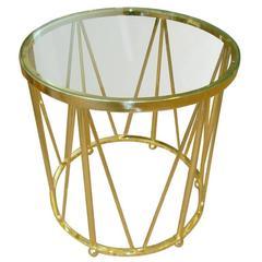 Sculptural Solid Polished Brass End/Side Drum Table