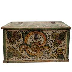19th Century Norwegian Rose Painted Casket