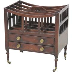 Antique Mahogany Magazine Rack with Drawers