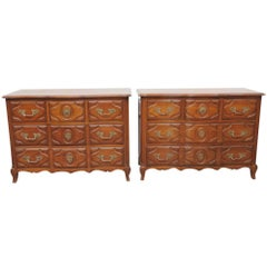 Pair of Auffray Style Carved Walnut Louis XV Commodes Dressers