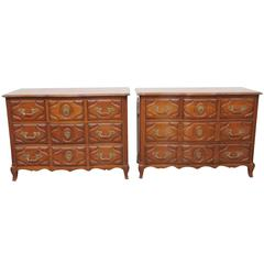 Pair of Auffray Style Carved Walnut Commodes