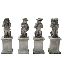 20th Century Set of Four Statuettes in Limestone