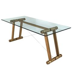 Superstudio Rare Dining Table in Wood and Clear Glass