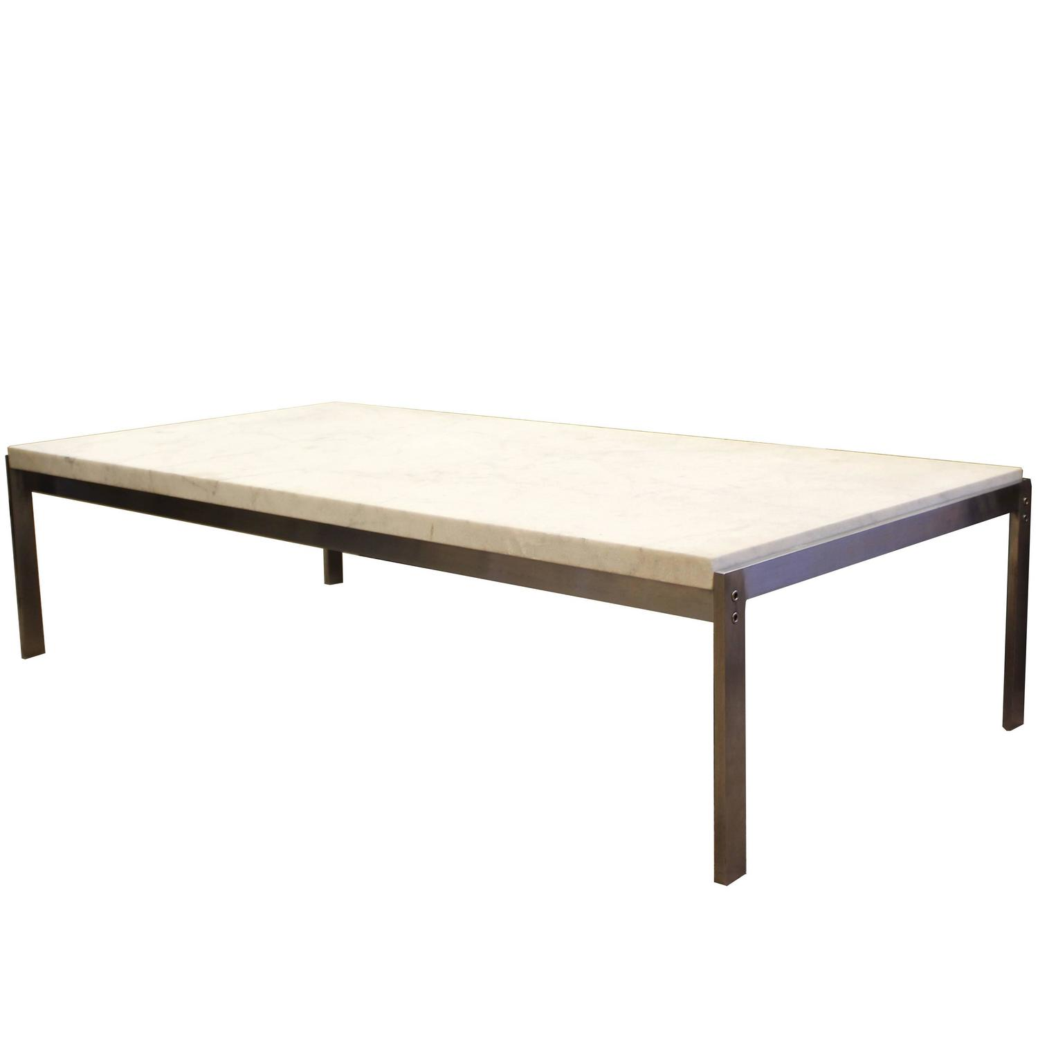 Poul Kjaerholm Pk65 Coffee Table White Flint Rolled Marble Signed