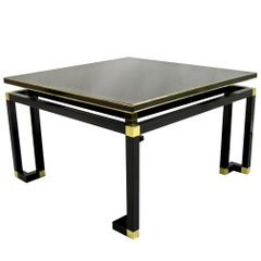 Studio A 1970s Italian Black Lacquered Wood and Brass Coffee/Sofa Table