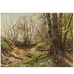 Peder Mørk Mønsted, Riverscape in Springtime, Oil, 1899