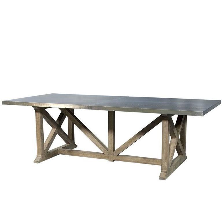 Industrial Metal Dining Table: Industrial Rustic Metal Top Dining Table At 1stdibs