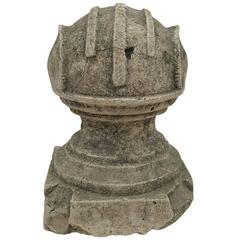 19th Century Column Fragment Ball Stone Sculpture