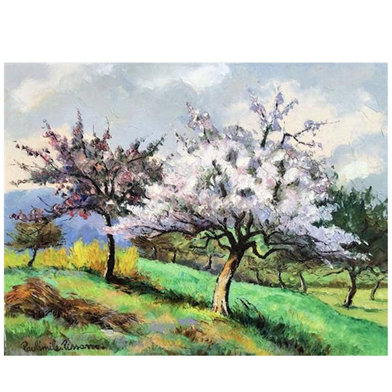 Paul-Emile Pissarro Apple Trees in Bloom Oil on Canvas For Sale