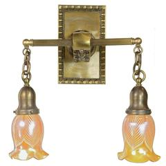 Cast Brass Sconce with Art Glass Shades, circa 1895