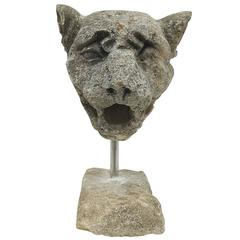 19th Century Carved Limestone Leopard Head