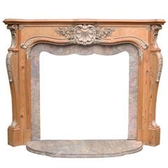 Rococo Style Fireplace with Shaped Tavira Breccia Marble