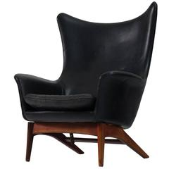 H.W. Klein Reclining Lounge Chair in Black Leather Upholstery