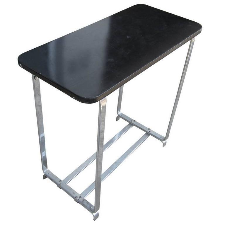 vintage art deco console table with flatbar chrome legs 1