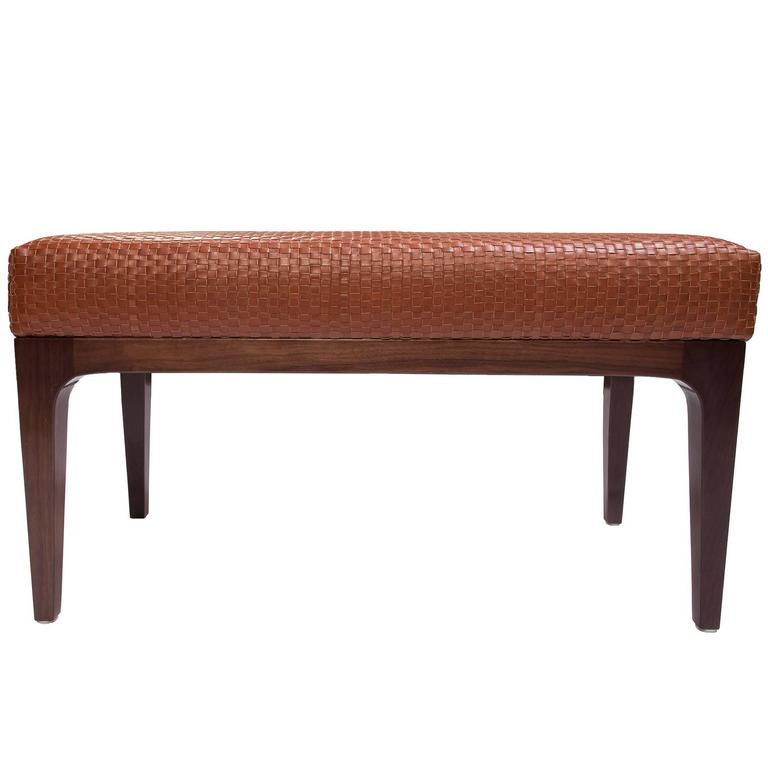 Raphael Bench with Mid-Century Modern Walnut Frame & Basketweave Leather