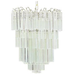Italian Murano Glass Chandelier with Venini Triedri Crystals by Camer
