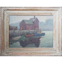 """Mel Stark """"The Boathouse"""" Oil on Canvas Board Mid-Century"""