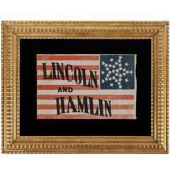 33 Star Lincoln & Hamlin Campaign Flag with Stars in a Great Star Configuration