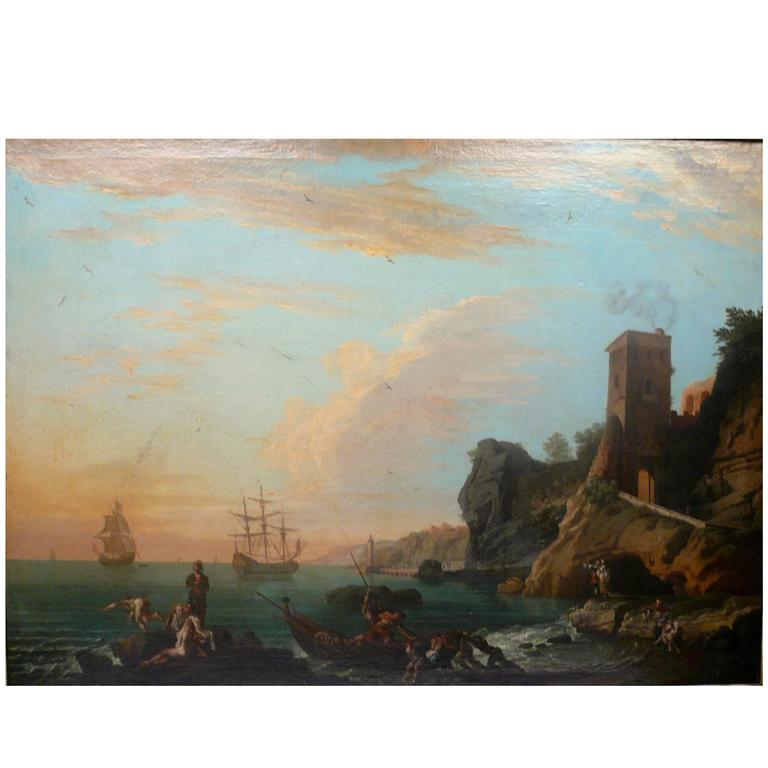 Harbor View, Attributed to Claude J. Vernet, Oil on Canvas For Sale
