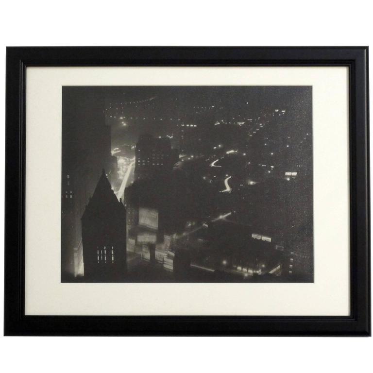 City Street Scene Black and White Photograph