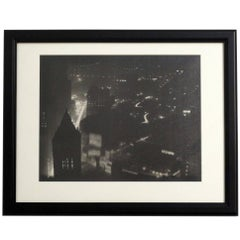 Cityscape Street Scene Black and White Photograph