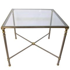Brushed Steel and Brass Game or Side Table