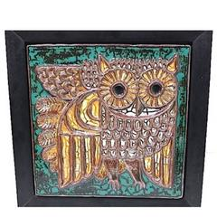 Large Scale Hand Made, Hand Painted Framed Master Work Ceramic OWL Mid-20thc.