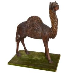 Late 19th Century Carved Wooden Camel on Stand