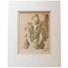 Bookplate Sketch Signed by Anders Zorn