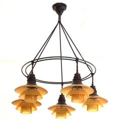 Rare PH, Poul Henningsen, Double Ring Chandelier with Five Lights