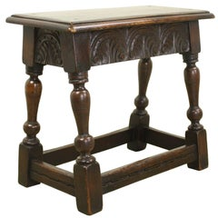 Small Antique Carved Oak Foot Stool
